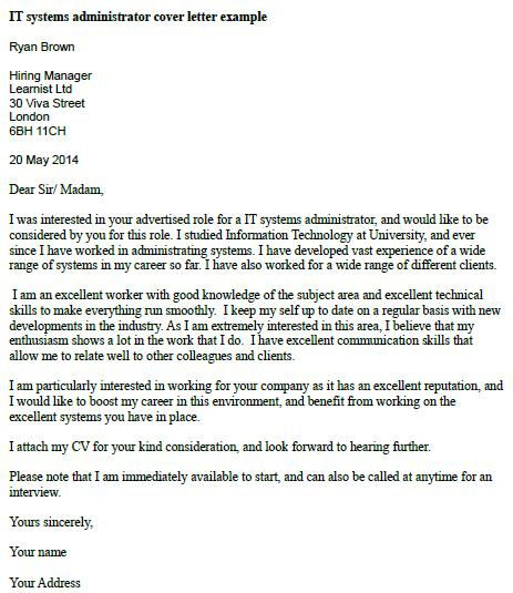 system administrator cover letter example
