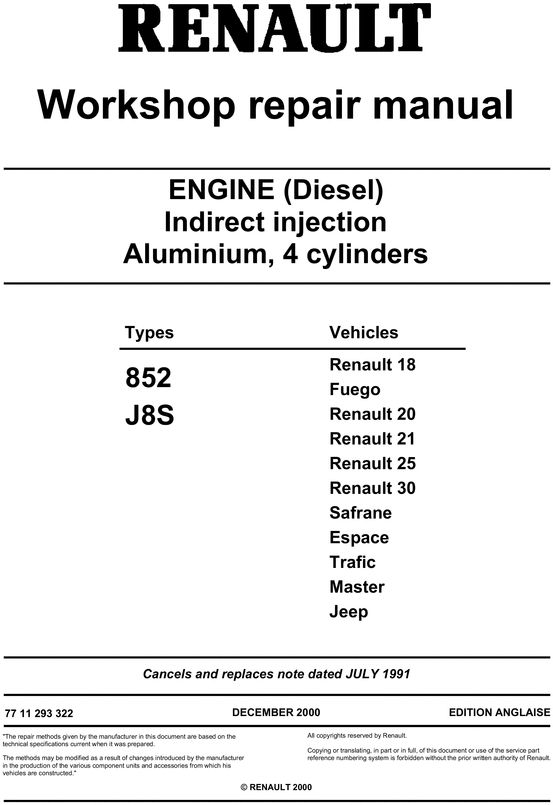 renault j8s manual