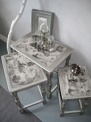 Salvage Trio', Nest Of Tables Painted With Annie Sloan Pastel