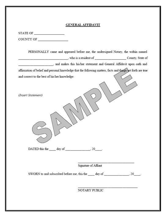Graduate Programs Admissions Sworn Affidavit Sample Free Printable Documents Real