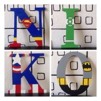 Niko Superhero Wooden Letters, Superman, Green Lantern ...
