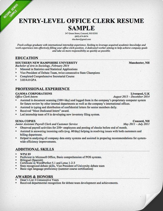 sample resume for entry level office clerk