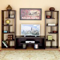 book shelfs decorated | Bookshelves flanking a TV stand ...