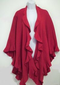 Coldwater Creek Sweater Cape Knit Shawl Wrap Red Ruffles ...