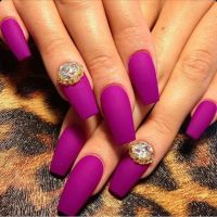 Matte Magenta / Purple Square Tip Acrylic Nails w ...