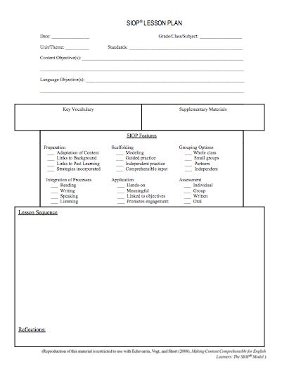 Hereu0027s a helpful SIOP lesson plan template ELL Pinterest - siop lesson plan templat