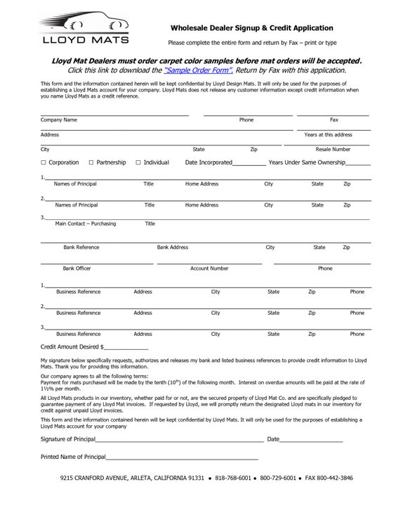 Dealer Credit Application Form Template | Sample Business Plan For