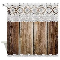 Rustic Barn Wood Lace Shower Curtain | Lace shower ...
