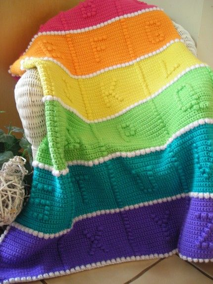 Abc Baby Blanket Crochet Pattern Rainbow Afghan Afghans And Rainbows On Pinterest