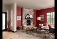Red Living Room with white, gray, and black accents ...
