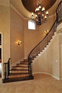 *Staircase* Handcrafted wood stairs with travertine risers ...
