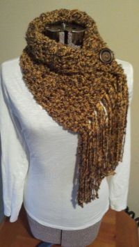 Fringe Scarf with Button, Infinity Scarf, Button Cowl ...