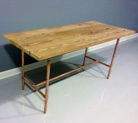 Reclaimed Wood Table Copper Industrial Pipe Legs