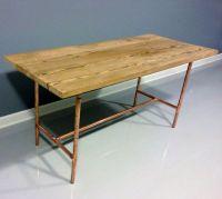 Reclaimed Wood Table Copper Industrial Pipe Legs