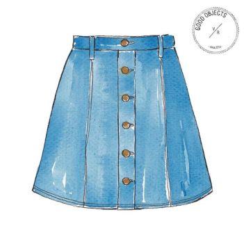 Good objects - Trending : denim skirt. it's everywhere! #goodobjects #denimskirt #illustration:
