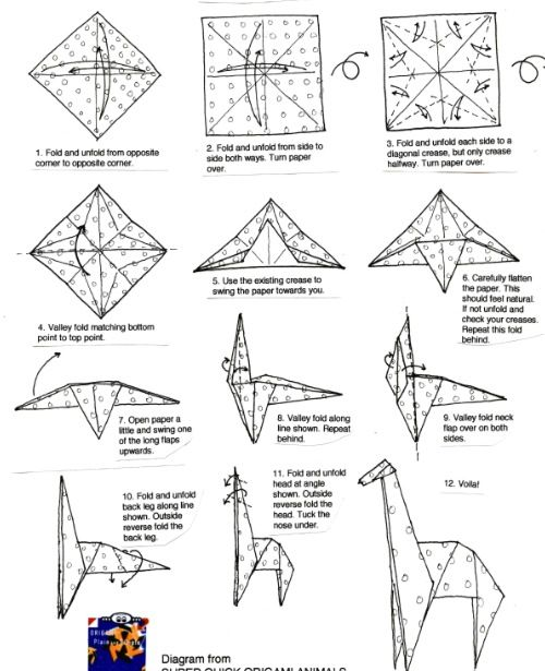 origami giraffe diagram