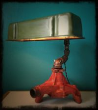 Coolest desk lamp ever, made with salvaged car parts and