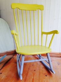 Beautiful Rocking Chair, Yellow and Grey Chalk Painted ...