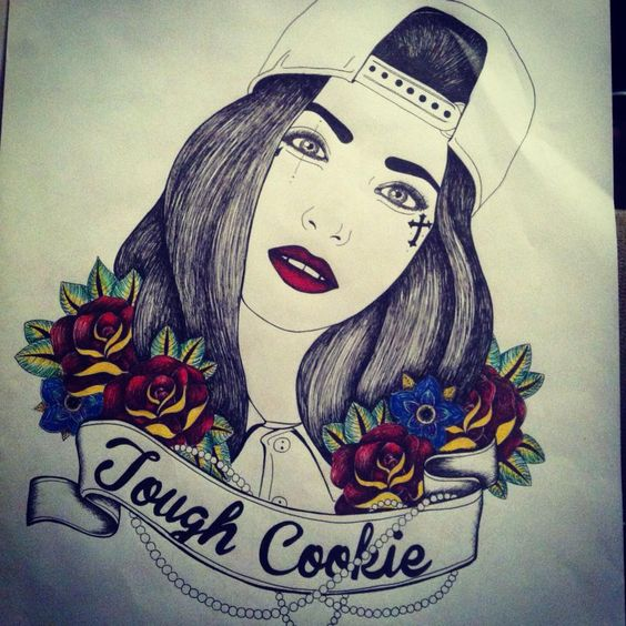 Gangsta Girls And Lowriders Wallpaper Pen Illustration Tough Cookie Design Tattoo