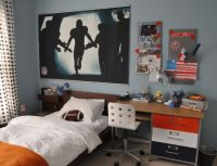 Orange, brown and blue boys room, Sports theme bedroom for ...