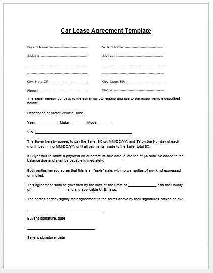 Loan Agreement Template | Microsoft Word Templates - Car Payment