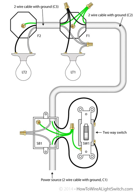 two way switching 2 wires