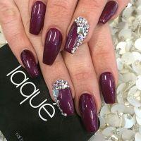 Laque Nail Bar | Plum Square Tip Acrylic Nails w ...