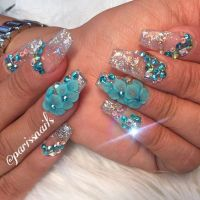 Glitter 3D flower crystal clear nail art | Coffin Nails ...