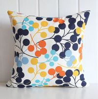 Navy Blooms Decorative Pillow Cover - Orange Yellow Aqua ...