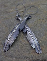 Metal Crow Feather Earrings, Long Mixed Metal Feather ...