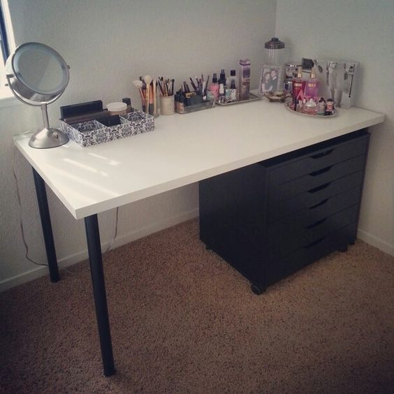 "Clean White Computer Desk Setup From Ikea Linnmon Adils With Alex My Makeup Vanity. White ""linnmon"" Table Top - $26. Black"