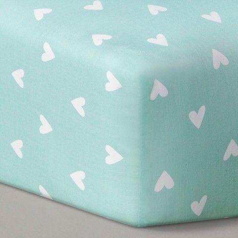 Circotm Woven Fitted Crib Sheet Mint Hearts Mint Green