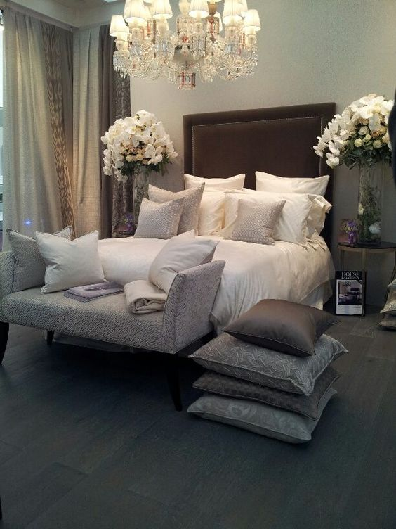 Gray, cream and brown bedroom. I'm actually liking this