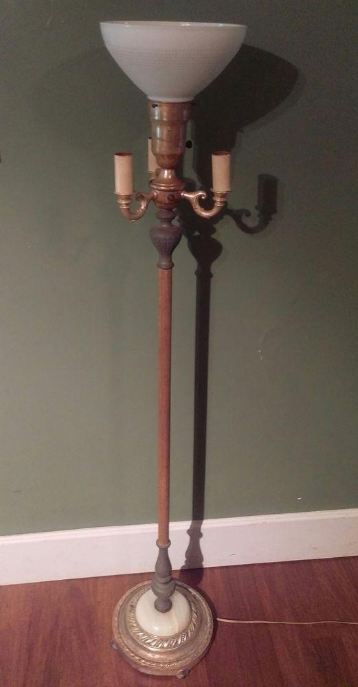 Antique VTG Torchiere Marble Floor Light Lamp Ribbed Milk