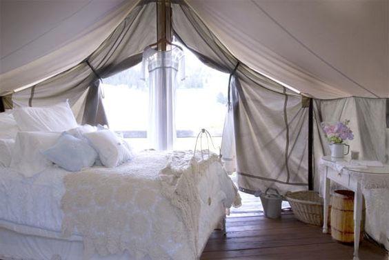 Each 12x14 Canvas Wall Tent Is Fitted With A Full Size Bed
