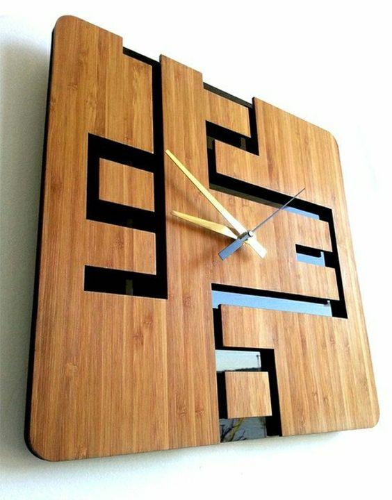 Kreative-Wandgestaltung-mit-coolem-Wanduhr-Wanduhr-Design-aus-Holz - kreative wandgestaltung