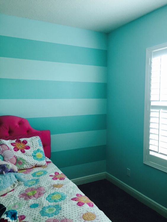 Bright Turquoise Wallpaper For Girls Room Sherwin William Aquatint And Sw Tantalizing Teal Stripes