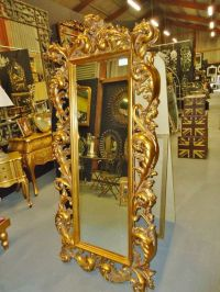 Large Gold Ornate Rococo Style Cheval Dressing Mirror ...