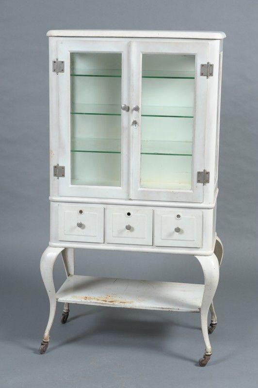 Antique White Metal Medical Cabinet Vintage Retro