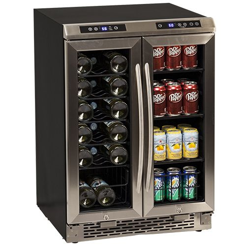 "Portable Center Kitchen Islands 24"" Built-in French Door Wine And Beverage Cooler 