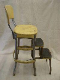 Vintage metal YELLOW Folding Costco Chair Step Stool fold ...