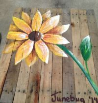 Yellow flower painted on reclaimed pallet wood | My ...