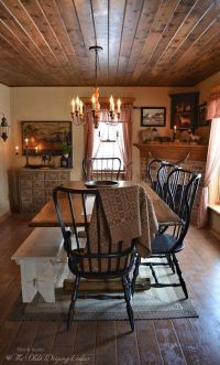 Love the black chairs | Primitive Dining Rooms | Pinterest ...