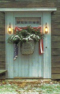 Primitive Door & Lanterns...with old basket of snowy pine ...