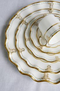 Beautiful China Plate w/ Elegant designed Gold Rim Set ...