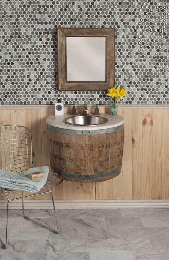 diy möbel badezimmer möbel holzfass waschbecken bad Pinterest - badezimmer do it yourself