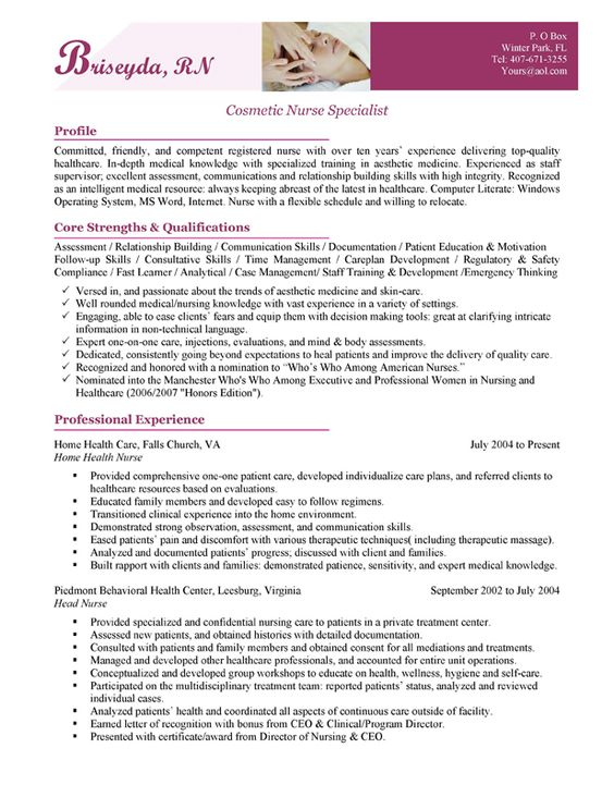 Cosmetic nurse cover letter