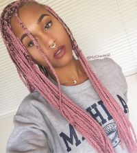 ros | pink box braids | septum ring | afro hair | afro ...