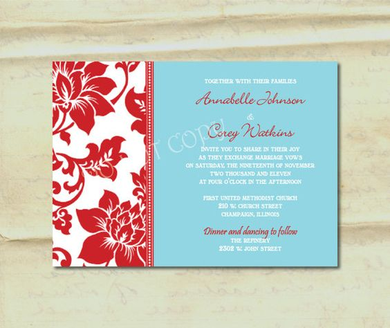 Wedding Invitation Damask Border In Aqua And Red