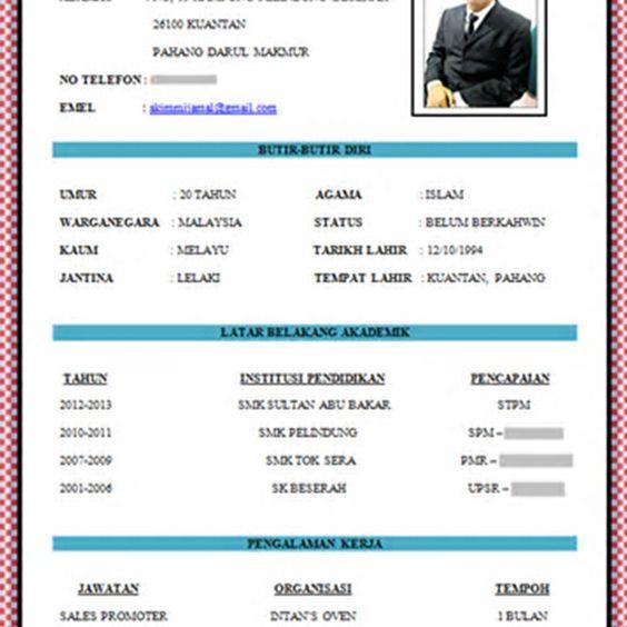 resume format kerajaan